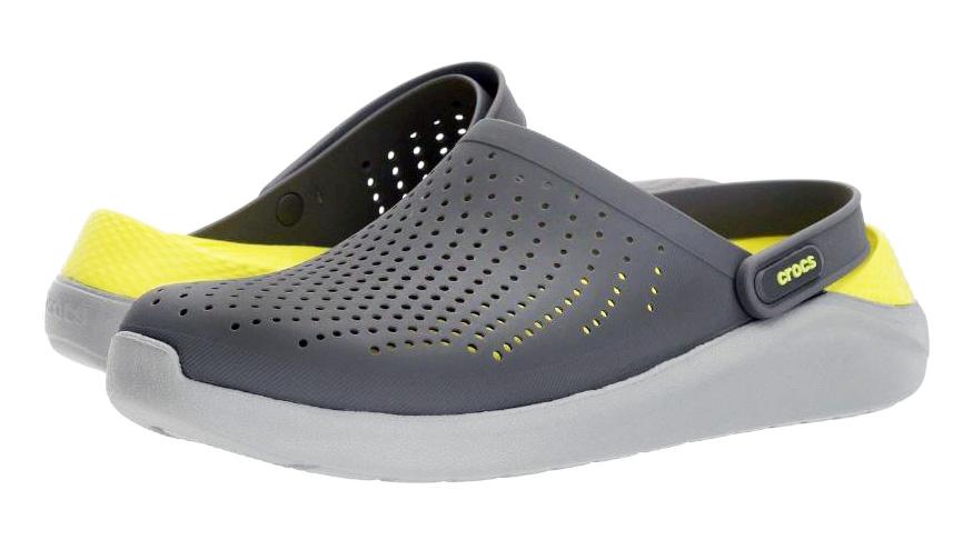 Крокс Crocs LiteRide мужские кроксы лайтрайд серые с желтым