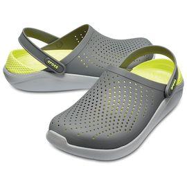 Крокс Crocs LiteRide Серый со светло-серым желтая пятка
