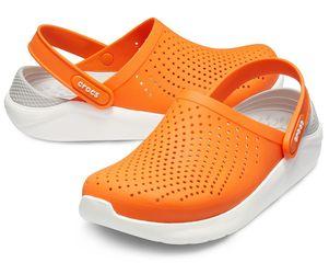 Крокс Crocs LiteRide оранжевый с белым серая пятка