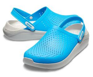 Крокс Crocs LiteRide голубые с серым белая пятка