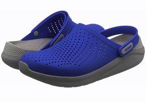 Крокс Crocs LiteRide Синий Серый светло-серая пятка