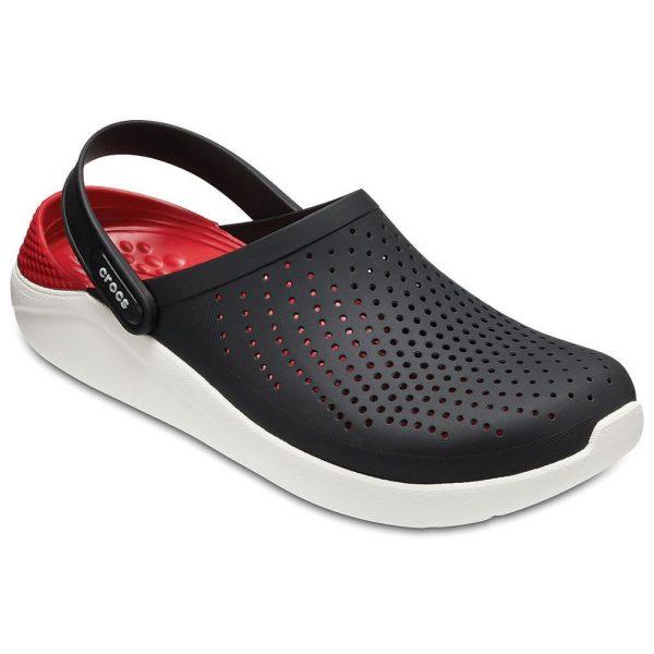 Крокс Crocs LiteRide Черный Белый Красная пятка