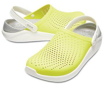 Крокс Crocs LiteRide желтые с белым серая пятка