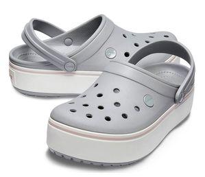 Крокс Сабо Платформа Crocs Сірі на білій платформі
